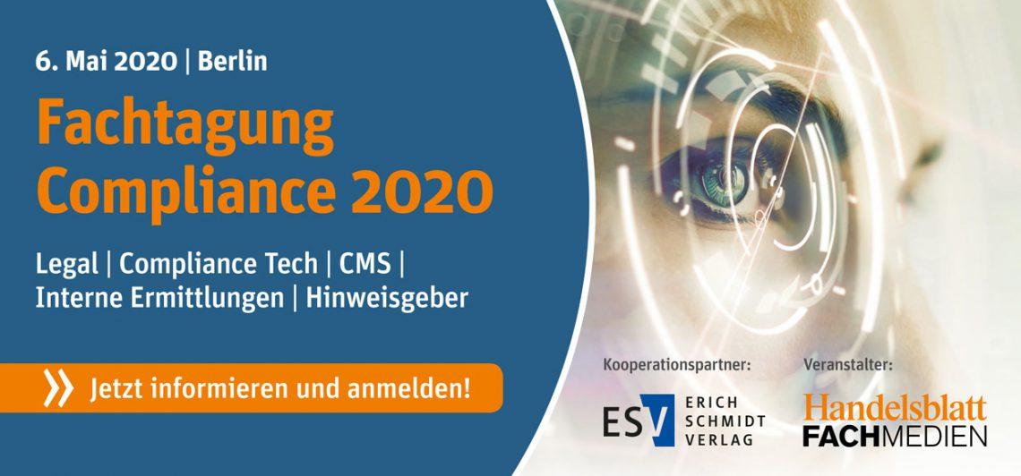 Fachtagung Compliance neues DATUM und neuer ORT: 01.12.2020 bei der ESV Akademie in Berlin!