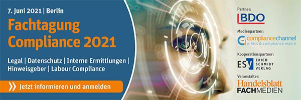 Fachtagung Compliance 2021 am 07.06.2021 in Berlin – wir sind für Sie vor Ort als Medienpartner!